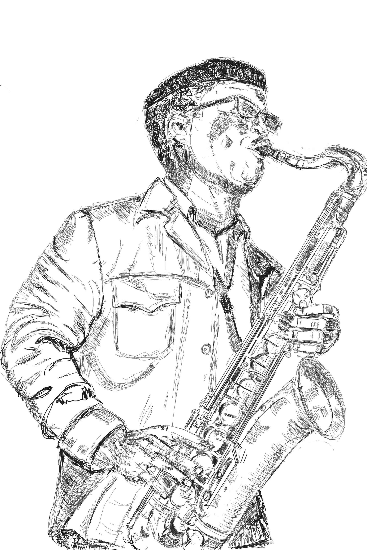 1920x2880 Saatchi Art Jazz Man Drawing By Chai South