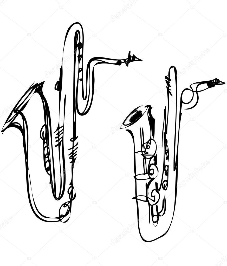 873x1023 Brass Musical Instrument Saxophone Bass Baritone Stock Vector