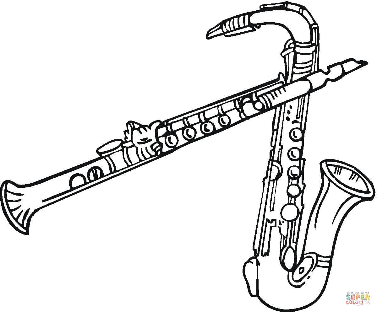 1200x994 Saxophone Coloring Page Free Printable Coloring Pages