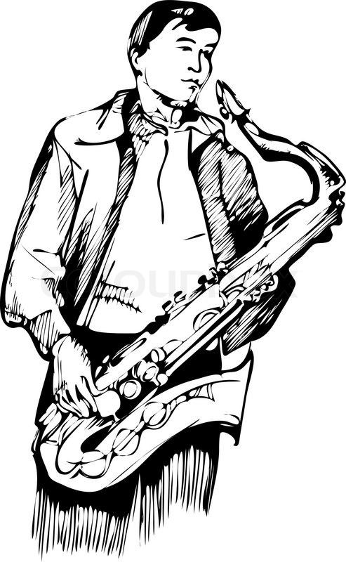 493x800 How To Draw A Saxophone Step 6. Musician With A Saxophone Sketch