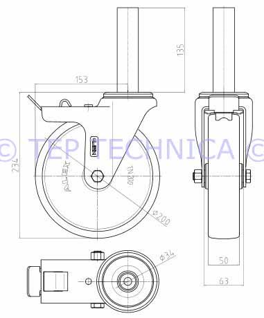 381x460 P3966 20050 Scaffolding Castor With White Nylon Wheel (34mm Tube