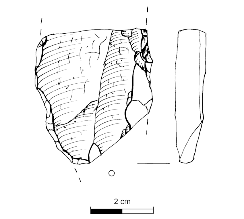 850x762 Medial Fragment Of A Large Blade. Drawing L. Johansen (Haren