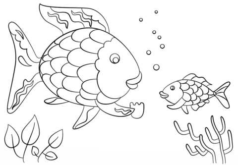 480x333 Rainbow Fish Gives A Precious Scale To Small Fish Coloring Page