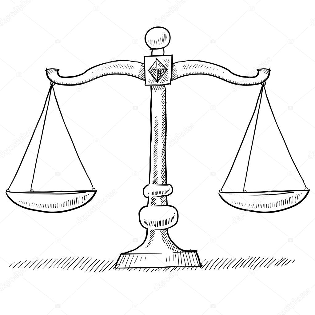 1024x1024 Scales Of Justice Sketch Stock Vector Lhfgraphics