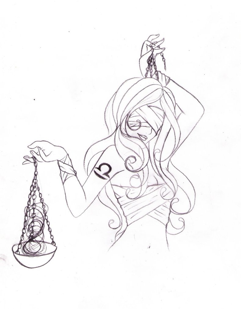 790x1012 Libra Lady With Scales Justice Tattoo Design