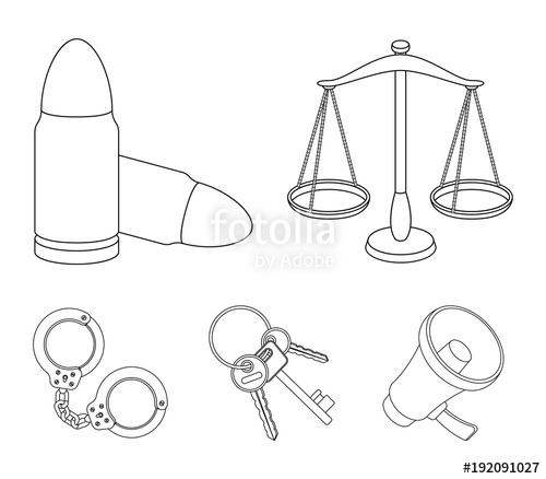500x438 Scales Of Justice, Cartridges, A Bunch Of Keys, Handcuffs.prison