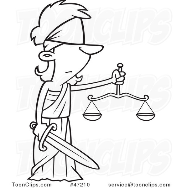 581x600 Black White Cartoon Lady Justice Blindfolded With A Sword