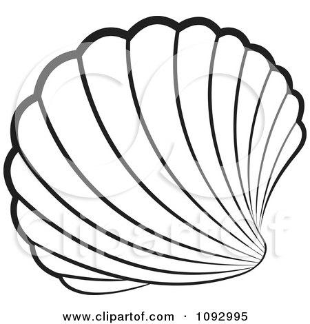 450x470 Clipart Black And White Scallop Sea Shell