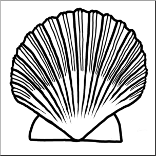 304x304 Clip Art Seashells Scallop Shell Bampw I Abcteach
