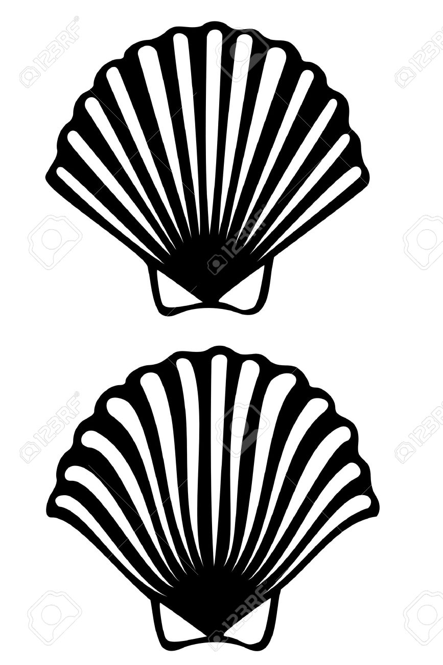 867x1300 A Scallop Shell Tribal Tattoo Royalty Free Cliparts, Vectors,