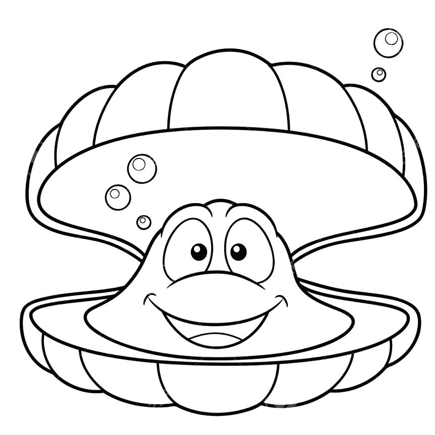 863x863 Clam Coloring Page A Conch Clam And Scallop Seashell Coloring Page