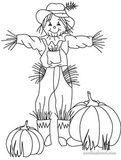 236x313 Free Hand Embroidery Pattern For Fall Scarecrow