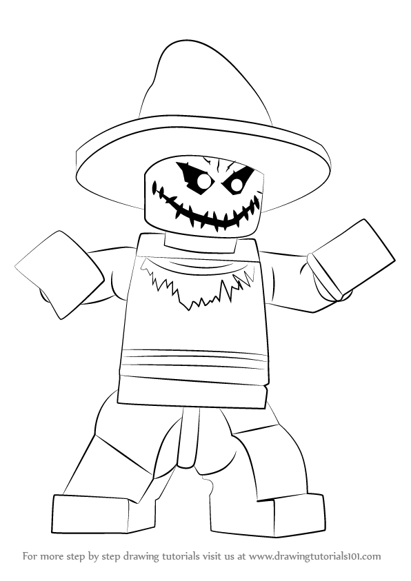 596x843 Learn How To Draw Lego The Scarecrow (Lego) Step By Step Drawing