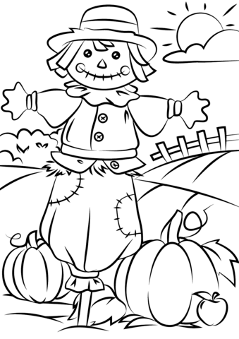 339x480 Autumn Scene With Scarecrow Coloring Page Free Printable