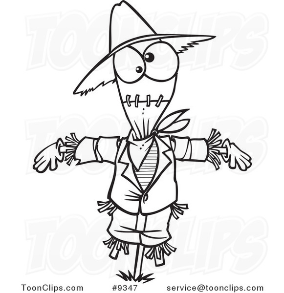 581x600 Cartoon Black And White Line Drawing Of A Scarecrow