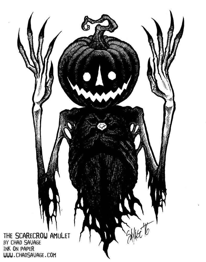 786x1000 The Scarecrow Amulet Original Halloween Drawing