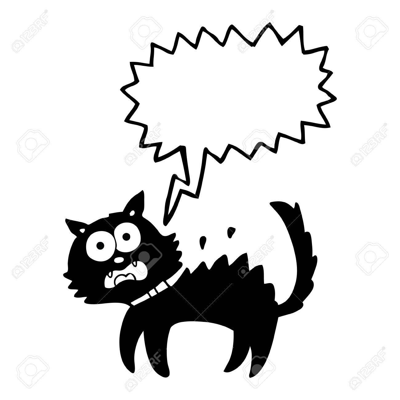 1300x1300 Freehand Drawn Speech Bubble Cartoon Scared Black Cat Royalty Free