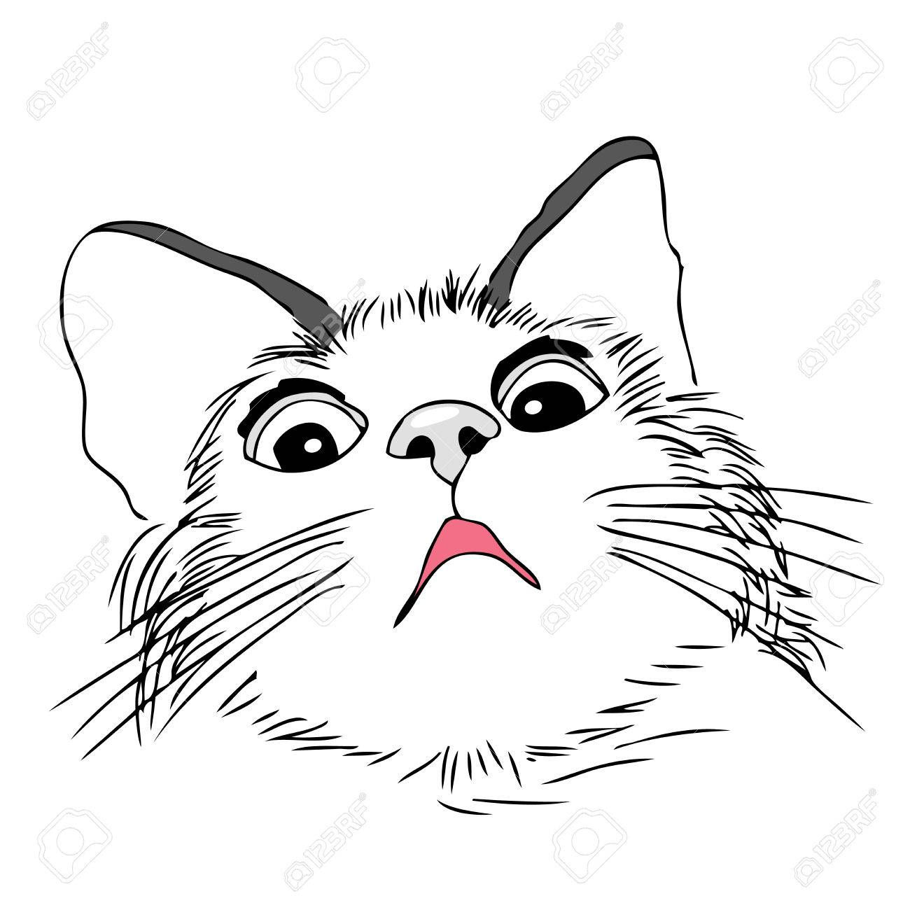 1300x1300 Scared, Worried Cat, Hand Draw Illustration Royalty Free Cliparts