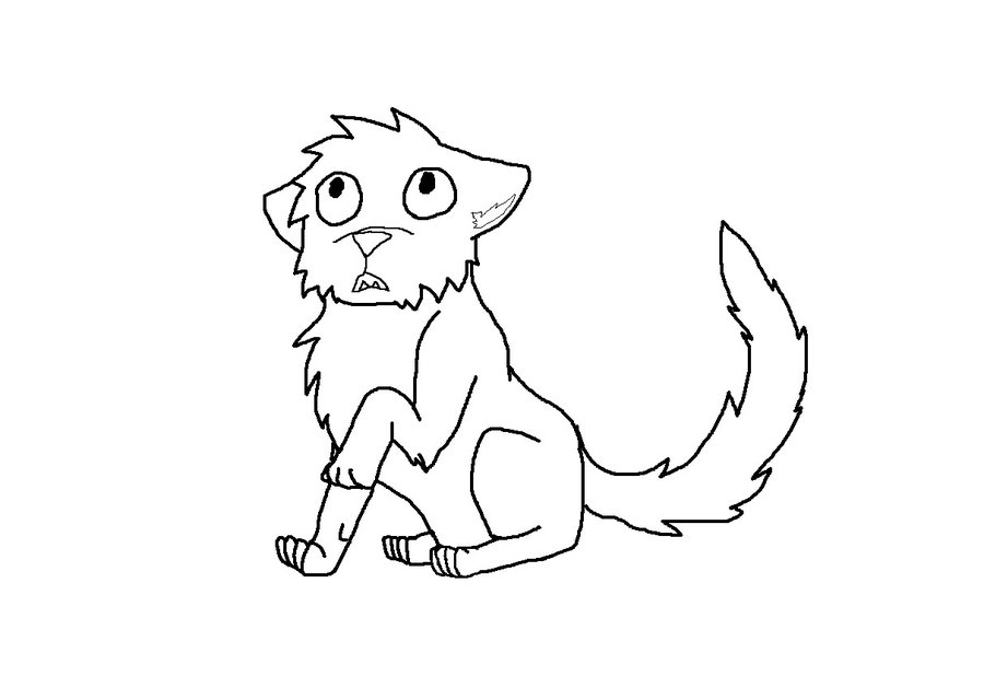 900x640 Scared Cat Line Art By Ariasong7