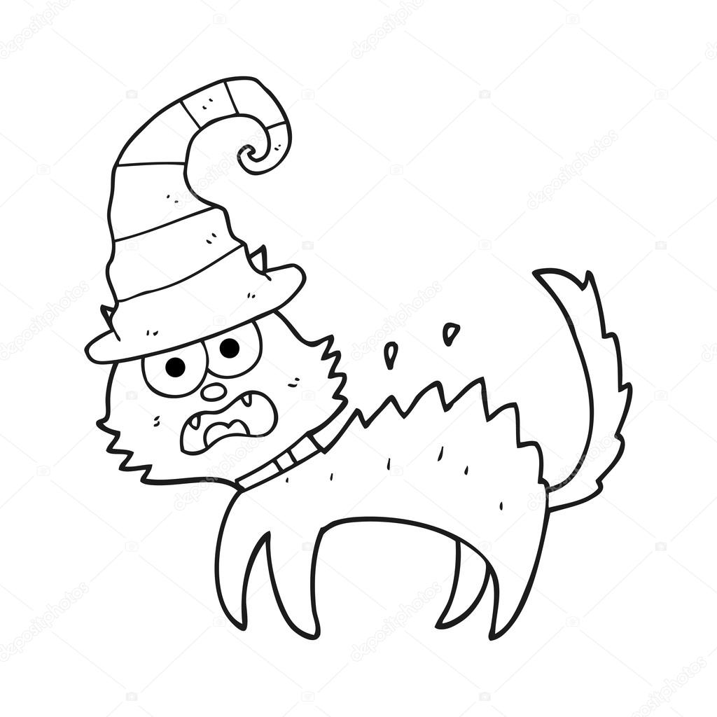 1024x1024 Black And White Cartoon Scared Black Cat Stock Vector