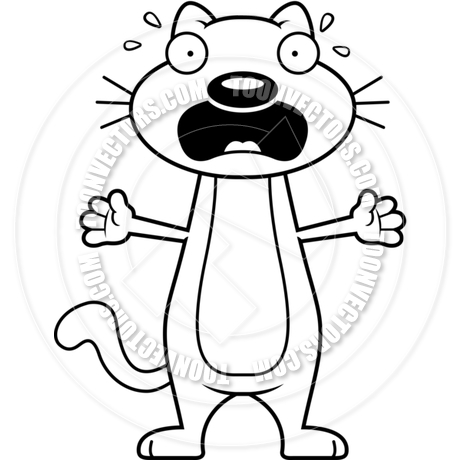 460x460 Cartoon Cat Scared (Black And White Line Art) By Cory Thoman