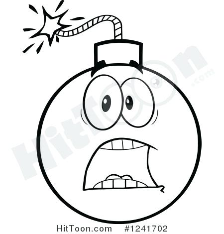 450x470 Clipart Scared Of A Black And White Screaming Scared Bomb Mascot
