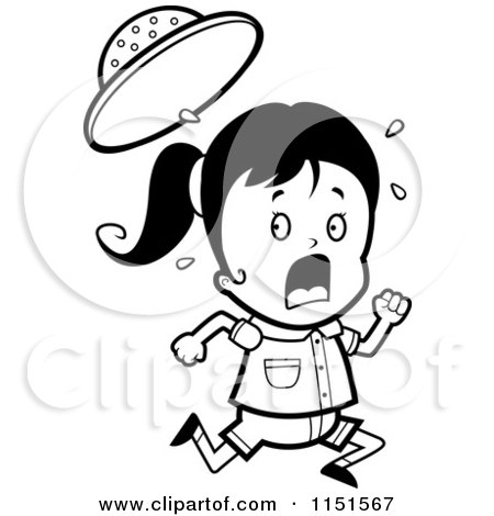 450x470 Cartoon Clipart Of A Black And White Scared Safari Girl Running