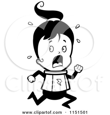 450x470 Cartoon Clipart Of A Black And White Scared Space Ranger Girl