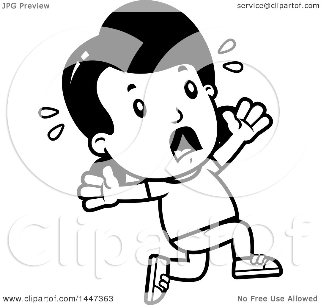 1080x1024 Clipart Of A Black And White Retro Girl Running Scared