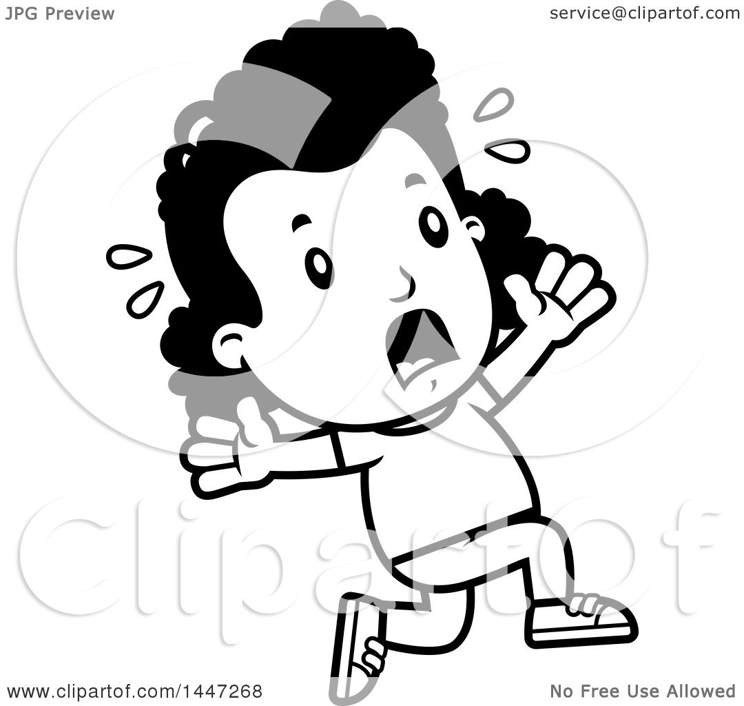 1080x1024 Clipart Of A Retro Black And White African American Girl Running