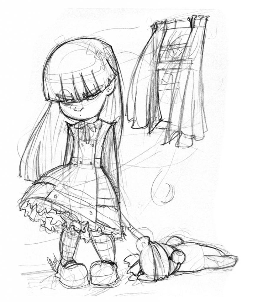 875x1024 Gallery Creepy Girl Drawing,