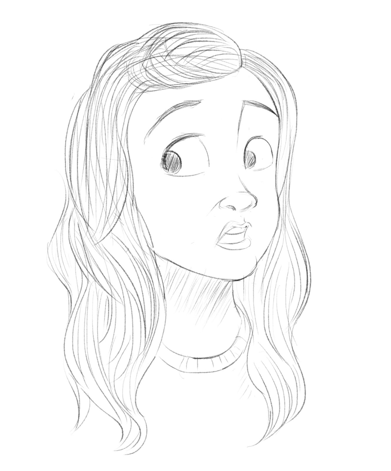Scared Face Line Drawing : Scared girl drawing at getdrawings free for personal