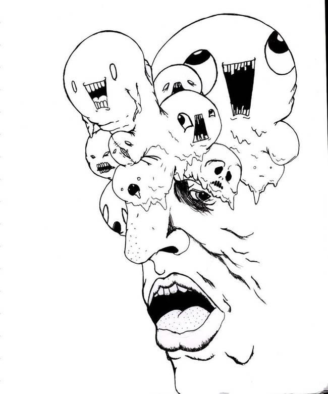 Scared Man Drawing