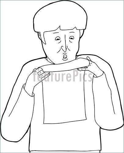 406x500 Outline Of Scared Man Reading Illustration