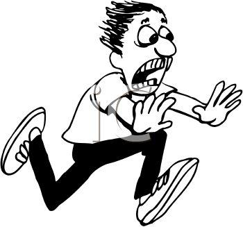 350x327 People Running Away Scared Clipart