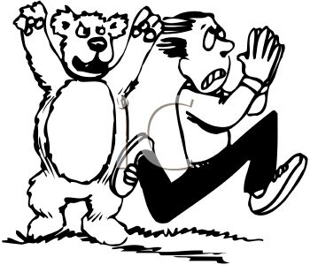 350x300 Clipart Of Boy Being Scared By A Bear