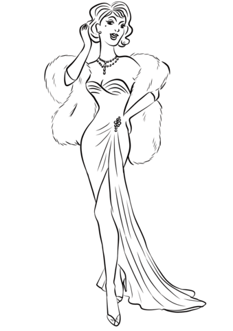 339x480 1930's Woman In Long Dress And Fur Boa Scarf Coloring Page Free