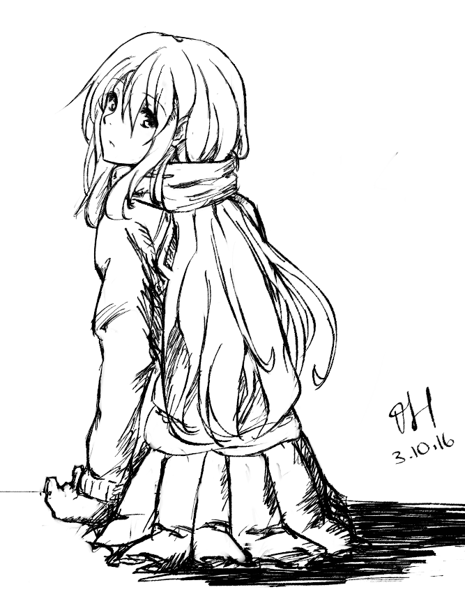 667x872 Girl With Scarf By Iharvie
