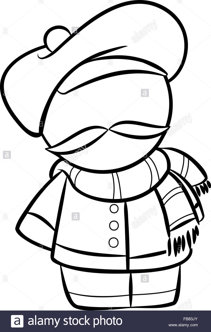 884x1390 Line Drawing Of Cute French Man With Scarf Stock Vector Art