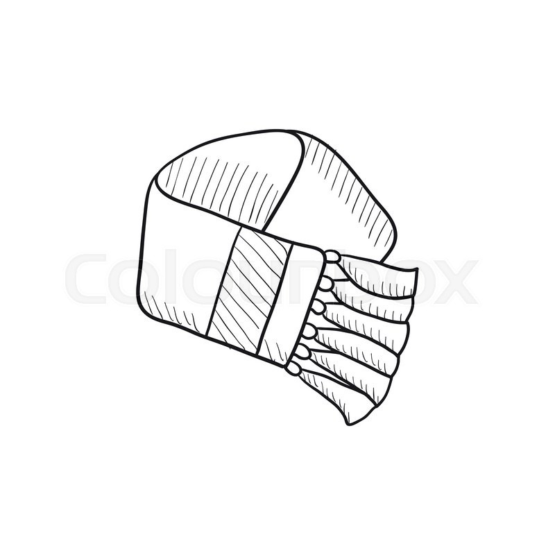 800x800 Scarf Sketch Icon For Web, Mobile And Infographics. Hand Drawn
