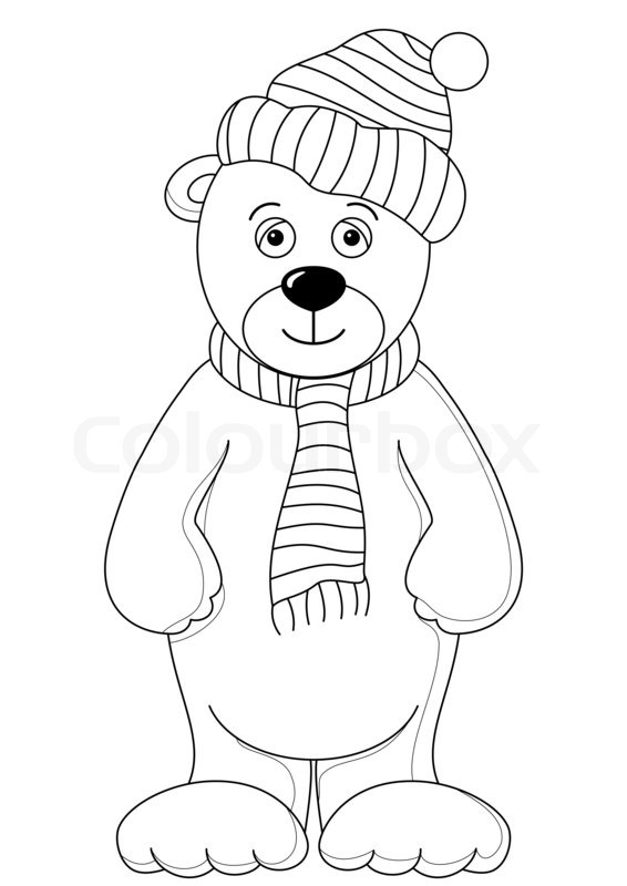 566x800 Teddy In Cap And Scarf, Contours Stock Photo Colourbox