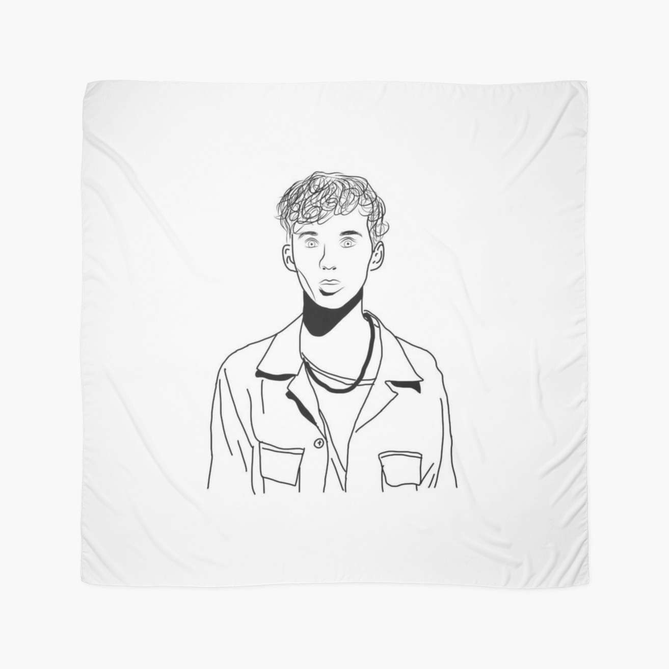 1313x1313 Troye Sivan Outline Drawing Scarves By Erin O'Leary Redbubble