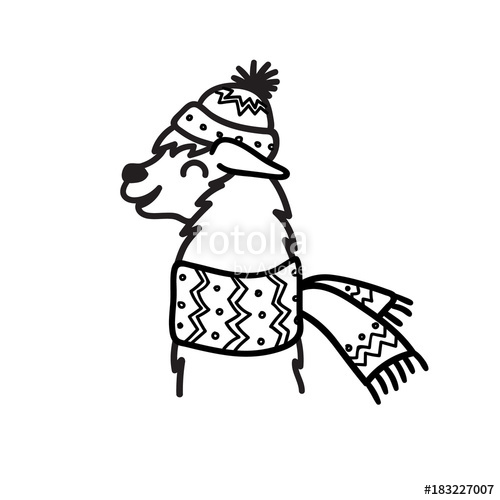500x500 Vector Illustration Of Cute Character South America Lama In Winter