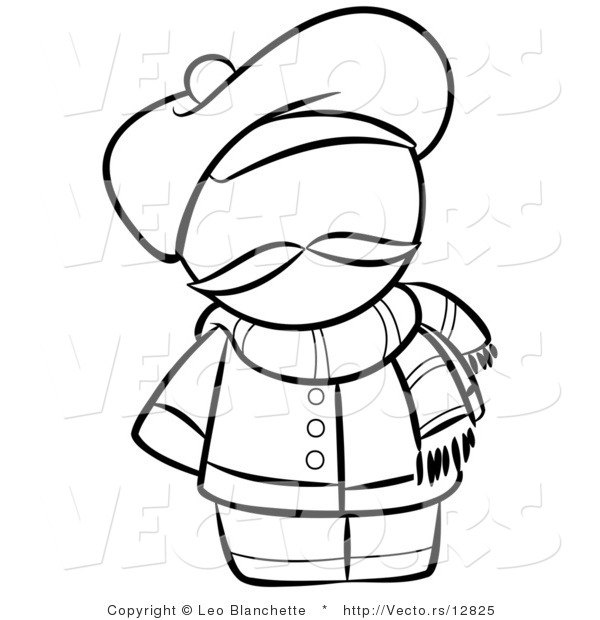 600x620 Vector Of French Person With A Hat And Scarf