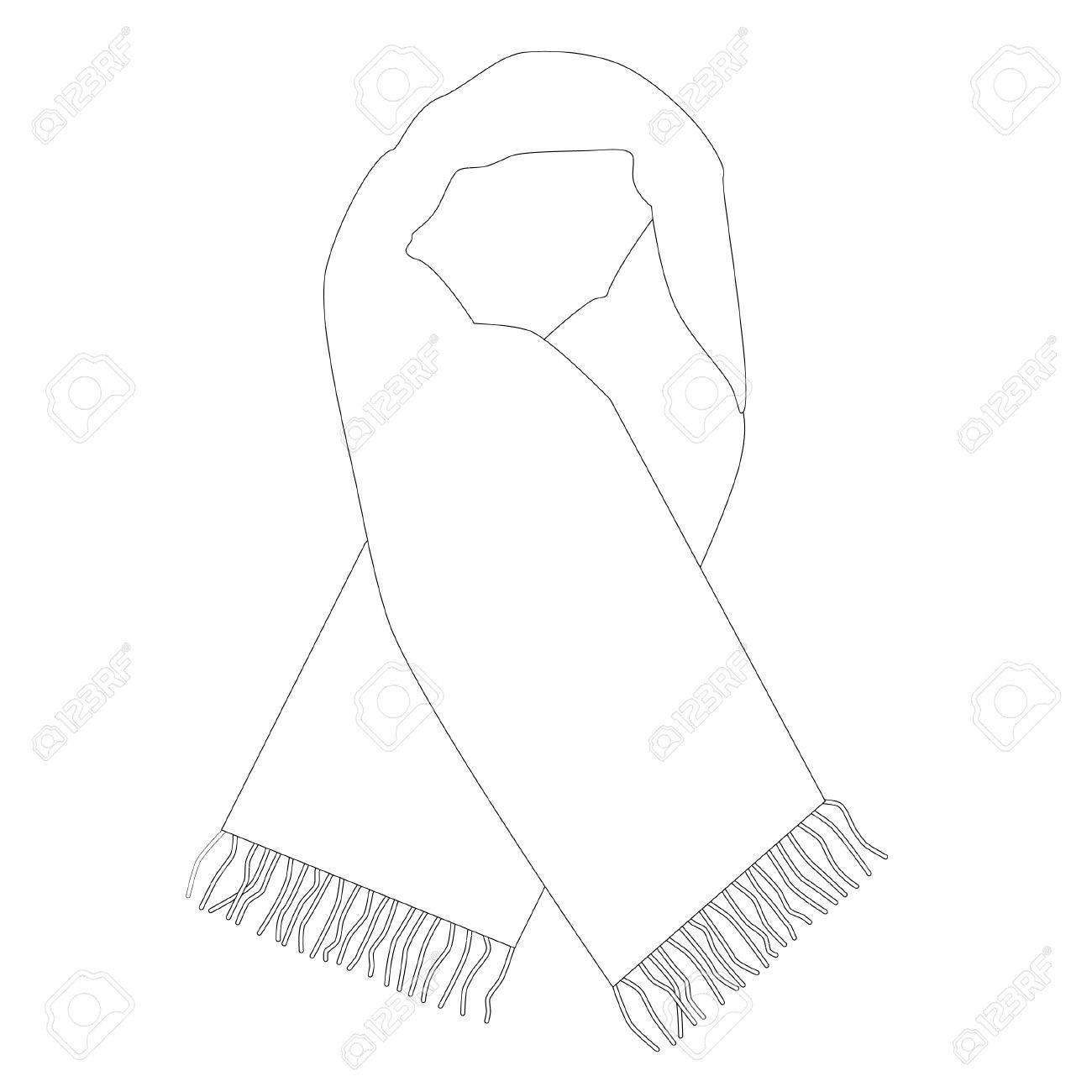1300x1300 White Winter Scarf Vector Isolated, Fashionable Accessory, Outline
