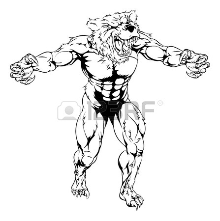 447x450 An Illustration Of A Bear Scary Sports Mascot With Claws Out