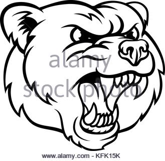 329x320 An Illustration Of A Bear Scary Sports Mascot With Claws Out Stock