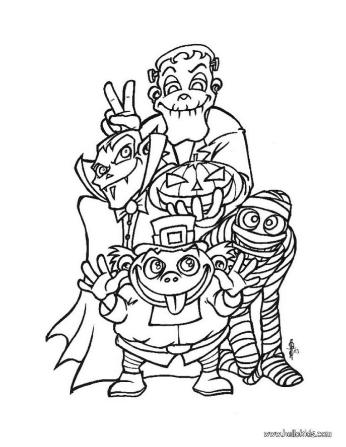 687x888 Coloring Pages Mesmerizing Halloween Coloring Pages Online Scary