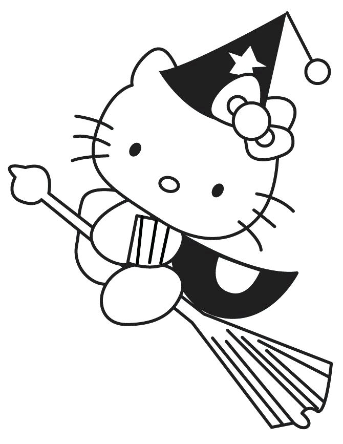 670x867 Halloween Cat Coloring Page Hello Kitty Pictures Printable