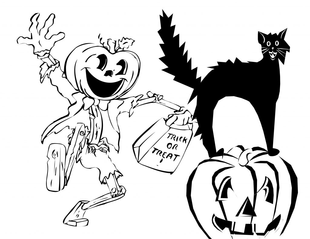 1024x791 Halloween Pumpkin Monster With Scary Cat Sitting On Pumpkin